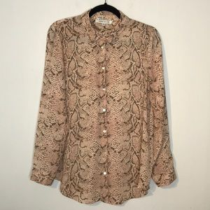 Rose + Olive pink snake print button down shirt